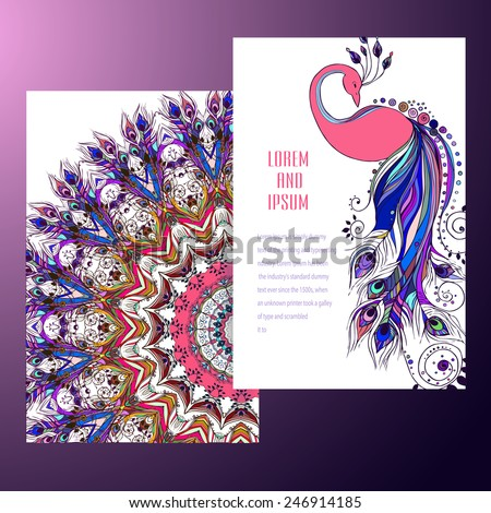 Beautiful card with Feather. Card of mandala in vector, cards or for any other kind of design, birthday and other holiday.Bright illustration. Bird   peacock, background, kaleidoscope, India - stock vector