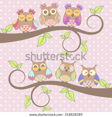 Beautiful card with owls in love on branch - stock vector