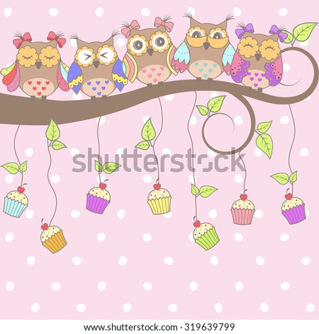 Beautiful card with owls on the tree and cakes on a pink background - stock vector
