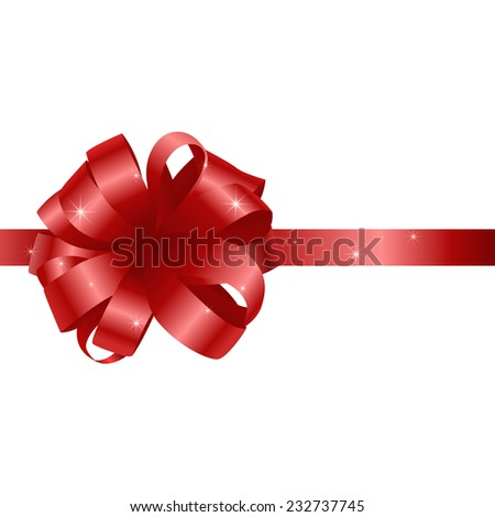 Beautiful card with red gift bow with ribbon on a white background. Vector illustration