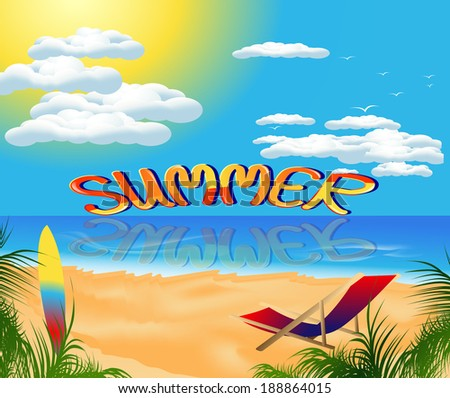 beautiful card with summer sea beach scenery and recreation - stock vector