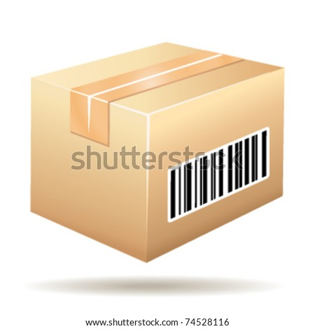 Beautiful cardboard icon with tracking number barcode. Vector illustration. - stock vector
