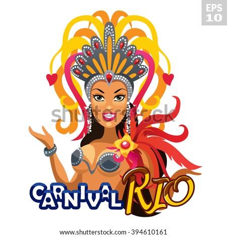Beautiful carnival dancer. Rio Carnival logo. - stock vector