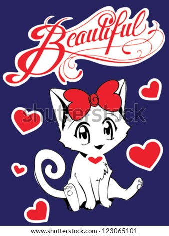 beautiful cat - stock vector