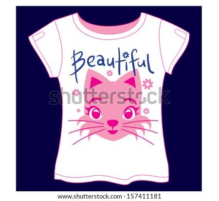 Beautiful Cat T-shirt - stock vector