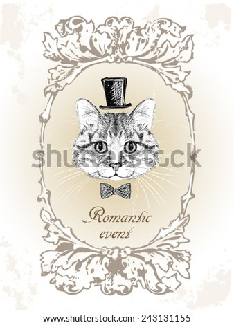 Beautiful cat. Vector illustration. Card in vintage style, retro. - stock vector