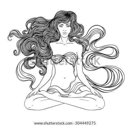 Beautiful Caucasian Girl with long curly hair sitting in Lotus pose over gold ornate pattern on background. Vector illustration. Spa consent, yoga studio, or natural medicine clinic.  - stock vector