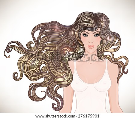Beautiful Caucasian girl with long curly hair. Vector illustration. Spa, hair salon, beauty or fashion consent.