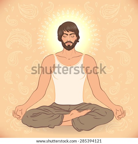 Beautiful Caucasian Man sitting in Lotus pose with ornate mandala on background. Vector illustration. Spa consent, yoga studio, or natural medicine clinic. - stock vector