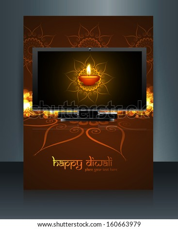 Beautiful celebration happy diwali led tv screen festival brochure template reflection vector - stock vector