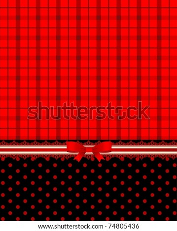 Beautiful checked background with lace and bow. Vector