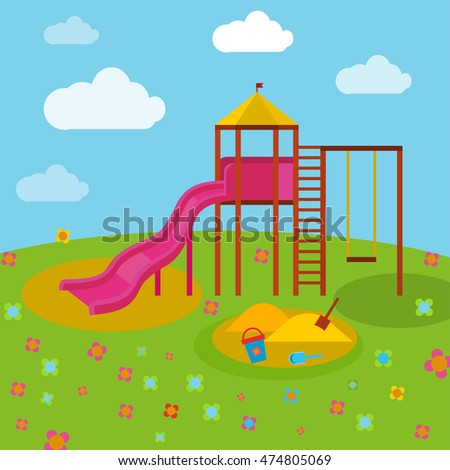 Beautiful children playground. Vector illustration in bright blue, green, yellow and orange colours in cartoonish style.