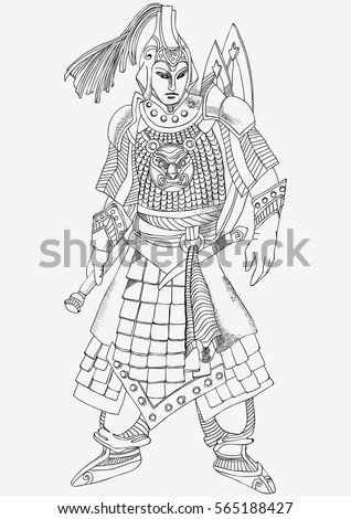 Beautiful Chinese Warrior Coloring Pages Stock Vector
