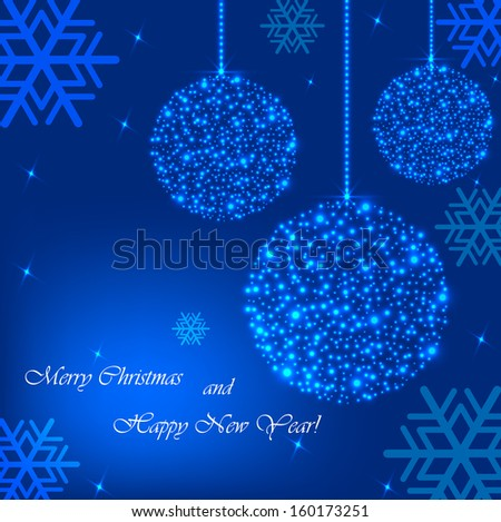 Beautiful Christmas background with blue ball of sequins.Vector  illustration