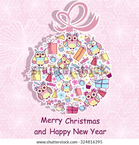 Beautiful Christmas background with owls, sweets, gifts on pink background with a pattern - stock vector
