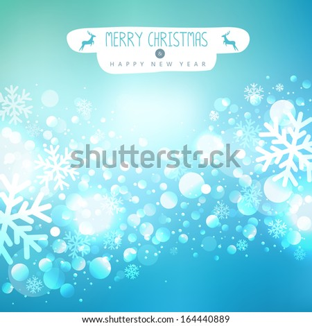 Beautiful Christmas background with reindeer and place for text - stock vector