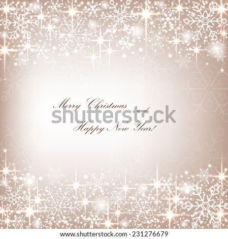 Beautiful Christmas beige background with sparkles and snowflakes. Vector  illustration