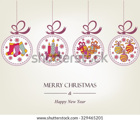 Beautiful Christmas card with Christmas objects - stock vector