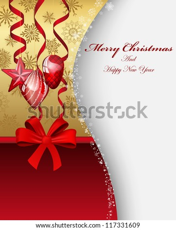 Beautiful Christmas (New Year) card. Vector illustration with transparency and mesh EPS10. - stock vector