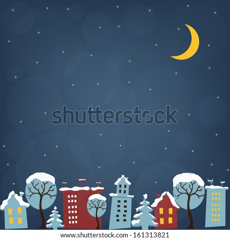 Beautiful Christmas night with houses - stock vector