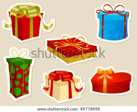 Beautiful Christmas Presents stickers set. - stock vector