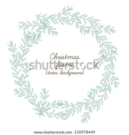 Beautiful christmas round frame. Vector illustration - stock vector