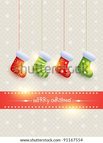beautiful christmas socks hanging vector background - stock vector