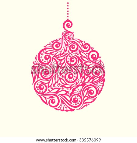 Beautiful Christmas toy ball. Decorated with flower pattern with spirals and swirls. Isolated on white background. background for greeting card and invitation of the merry christmas and happy new year - stock vector