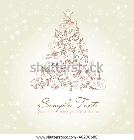 Beautiful Christmas tree illustration. Christmas Card - stock vector