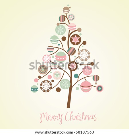 Beautiful Christmas tree illustration. Christmas Card - stock vector