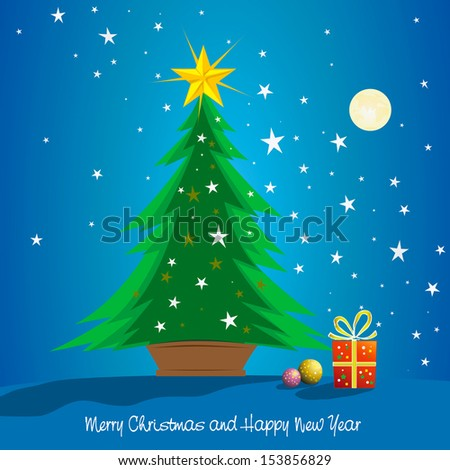 Beautiful christmas tree with gifts at night for greeting postcard, card, decoration, design. - stock vector