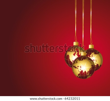 Beautiful christmas world ornaments. Red and gold festive vector background. - stock vector
