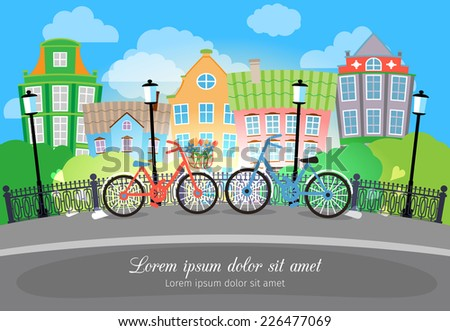 Beautiful City Bridge Street with Bikes and Lights. Designed with Colored Buildings on Background. - stock vector