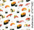 Beautiful Classic Japanese Seamless Pattern, food vector illustration sushi texture - stock vector