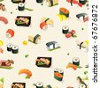Beautiful Classic Japanese Seamless Pattern, vector illustration sushi texture - stock vector