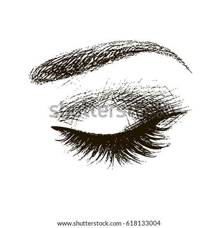 Beautiful closed eye with long eyelashes icon