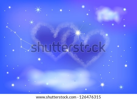 beautiful cloud in the shape of two hearts. Vector background - stock vector