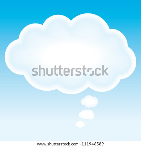 Beautiful cloud think bubble. Vector marketing background. - stock vector
