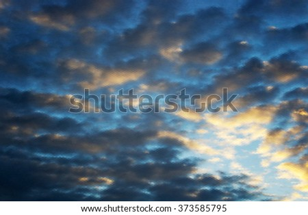 Beautiful cloudscape. EPS 10 vector illustration. Used mesh layers and transparency - stock vector
