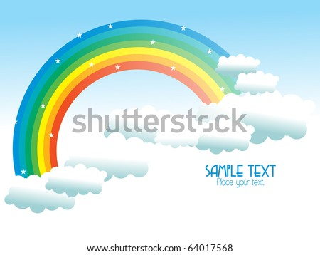 beautiful cloudy sky background with rainbow - stock vector