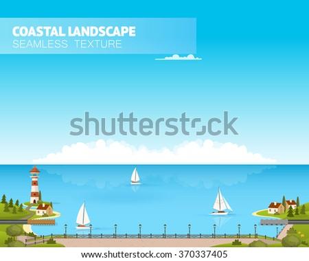 Beautiful coast landscape. Vector illustration - stock vector