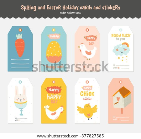 Beautiful collection of Easter greeting cards, gift tags, stickers and labels templates in vector. Holiday spring and summer cartoon concept with bunny, eggs, chicks and other graphic design elements. - stock vector