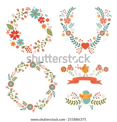 Beautiful collection of floral Easter wreaths. Vector illustration - stock vector
