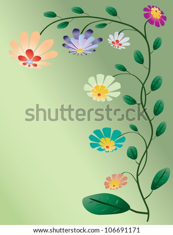 Beautiful color flowers tree vector illustration on light green background - stock vector