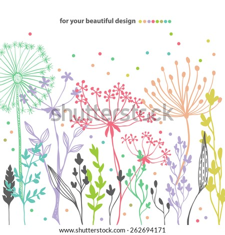 Beautiful color grass silhouette, natural card - stock vector