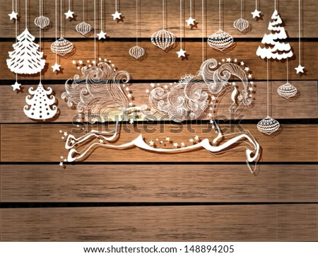 Beautiful color jumping horse over wood background, symbol 2014 new year, VECTOR