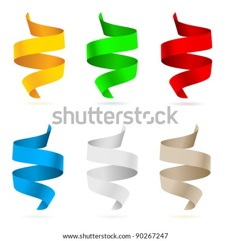 Beautiful colored ribbons.  Illustration on white background for design - stock vector