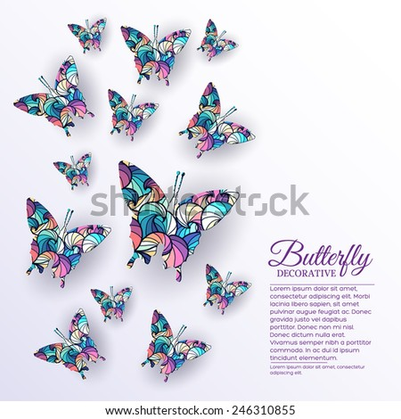 beautiful colorful butterfly background concept. Vector illustration design. Template for website and mobile appliance - stock vector