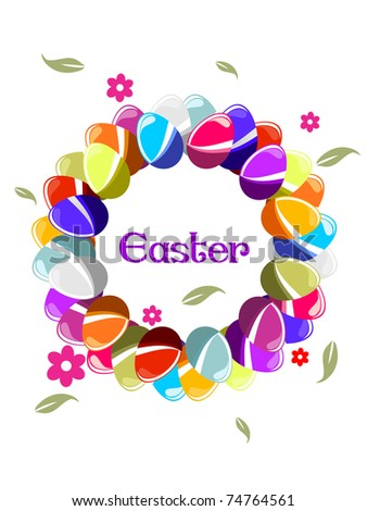 beautiful colorful egg shape frame for easter celebration