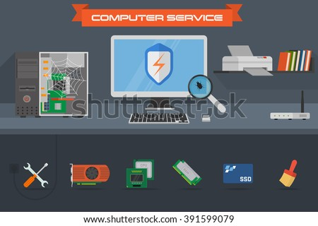 Beautiful colorful flat vector banner on the theme: assembling a desktop computer, buy computer equipment, repair computer, cleaning computer.  Components with graphic card, processor, RAM and SSD. - stock vector